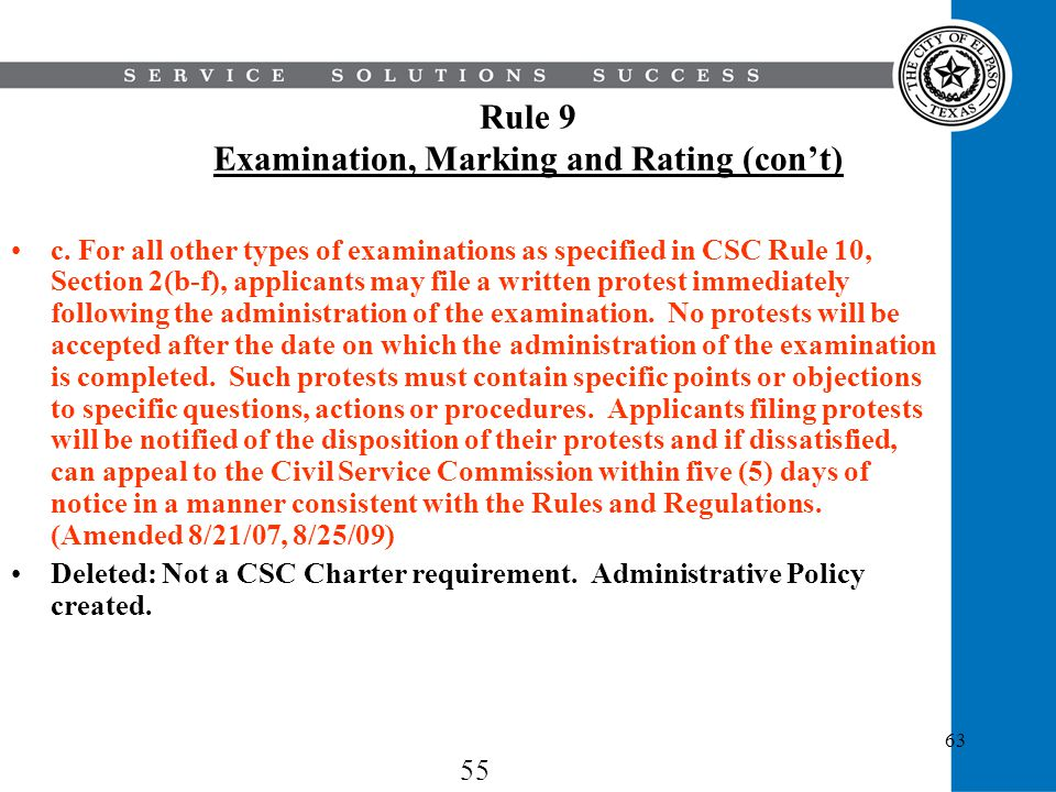 Rule 9 Examination, Marking and Rating (con't)