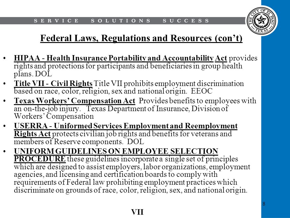 Federal Laws, Regulations and Resources (con't)