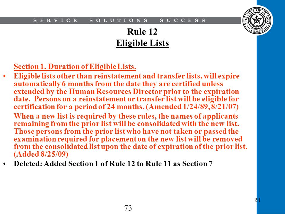 Rule 12 Eligible Lists Section 1. Duration of Eligible Lists.