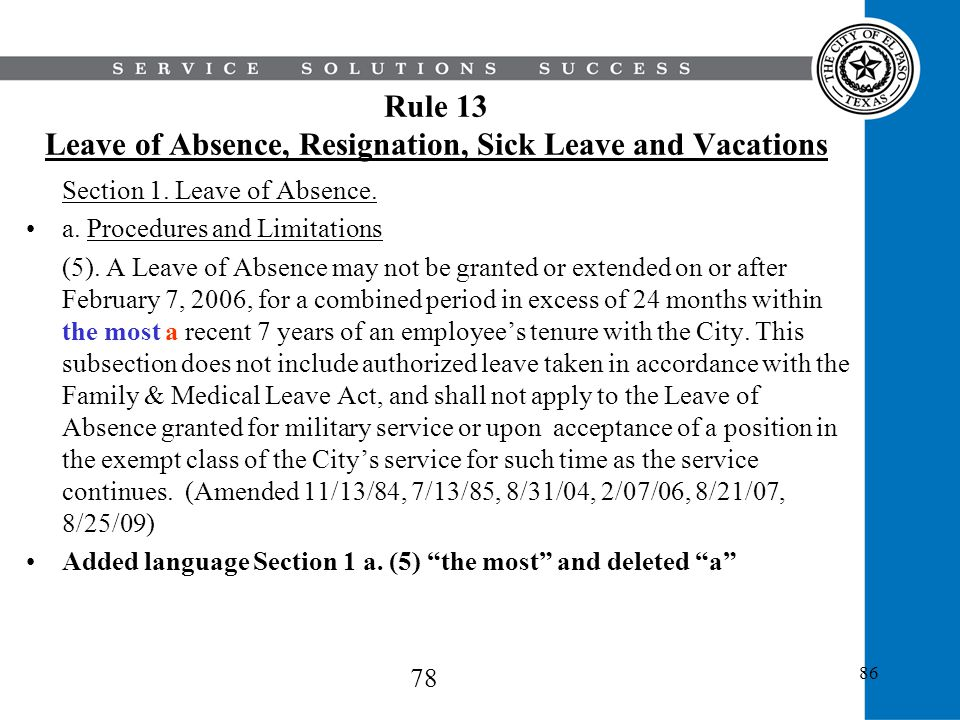 Rule 13 Leave of Absence, Resignation, Sick Leave and Vacations