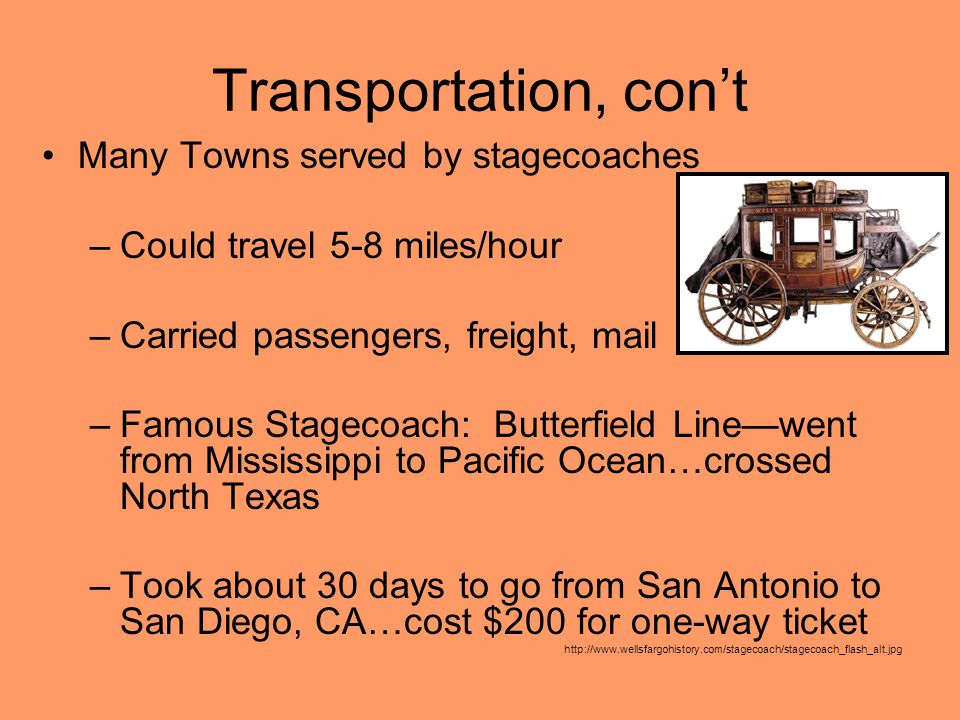 Transportation, con't Many Towns served by stagecoaches