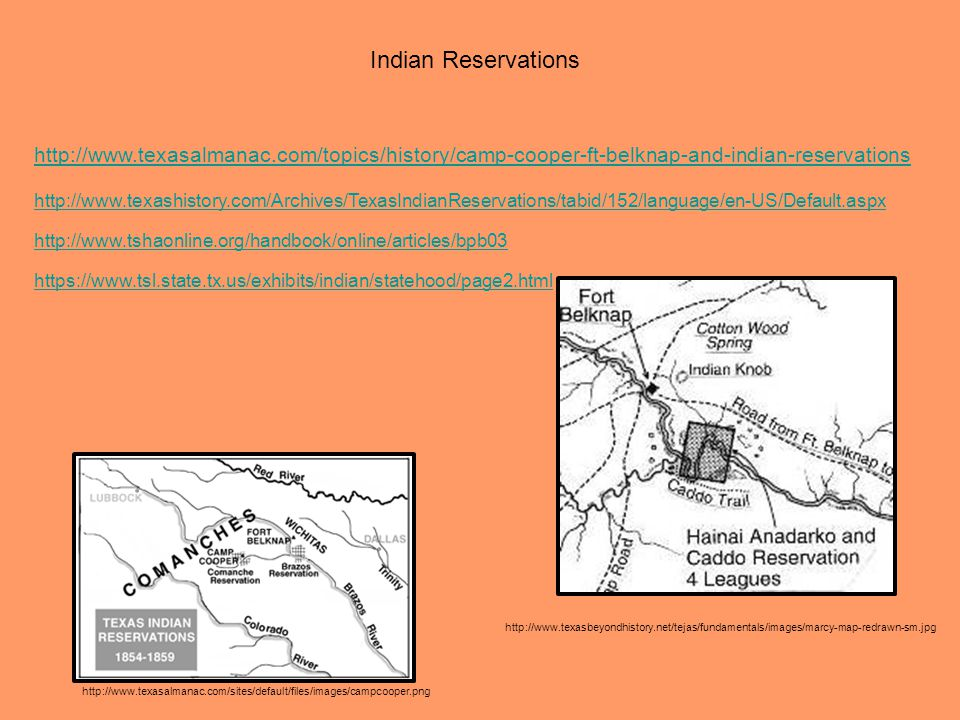 Indian Reservations http://www.texasalmanac.com/topics/history/camp-cooper-ft-belknap-and-indian-reservations.