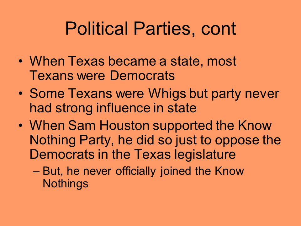 Political Parties, cont