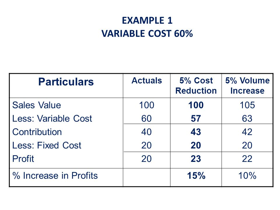 EXAMPLE 1 VARIABLE COST 60%