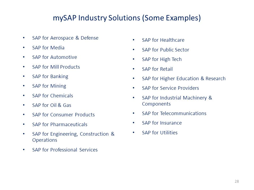 mySAP Industry Solutions (Some Examples)