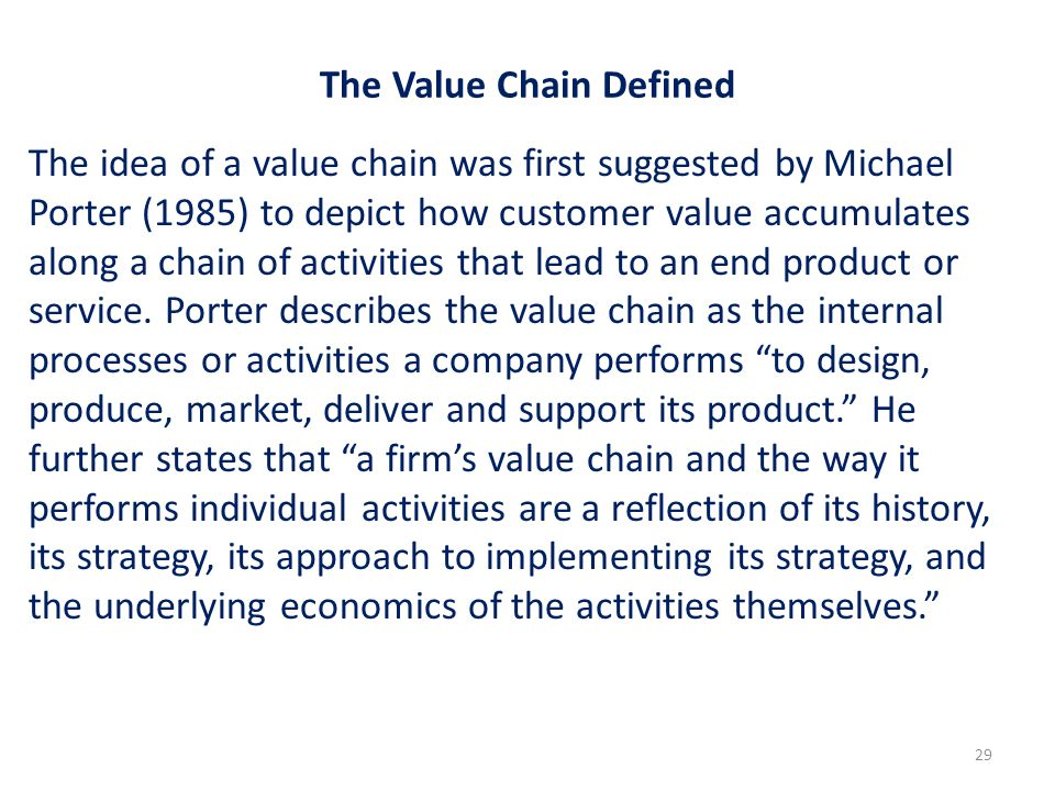 The Value Chain Defined