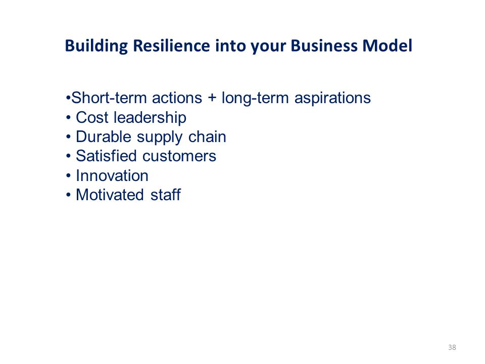 Building Resilience into your Business Model