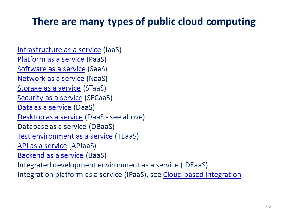 There are many types of public cloud computing