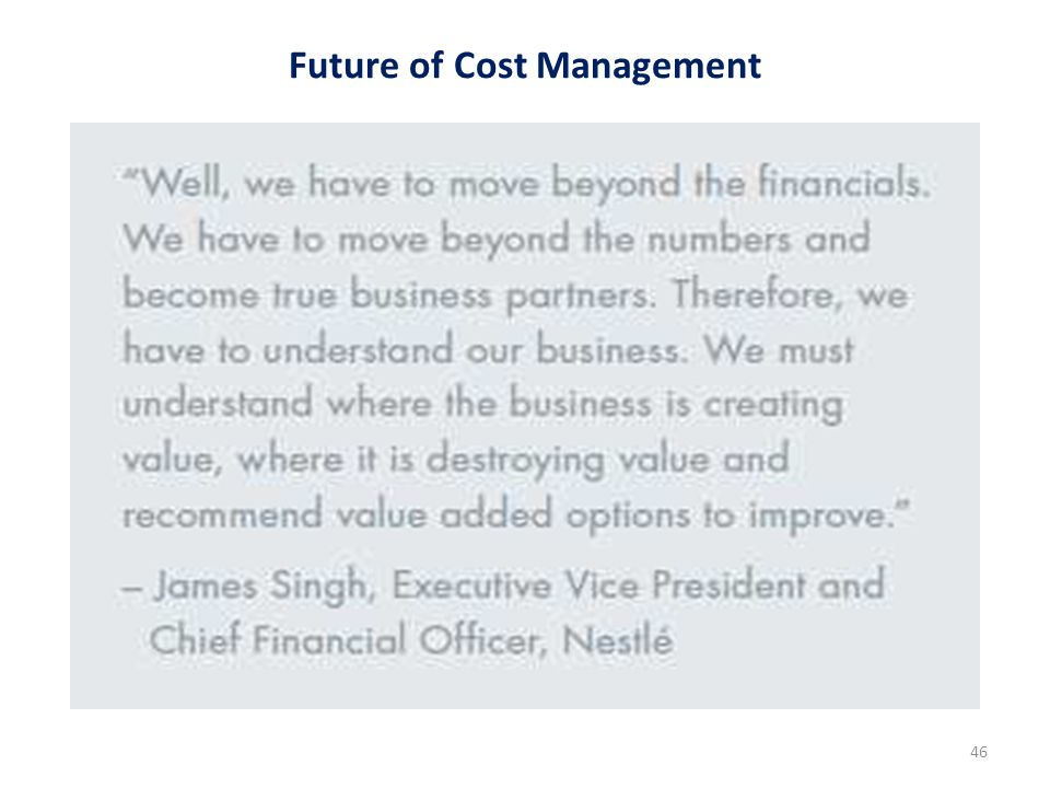 Future of Cost Management