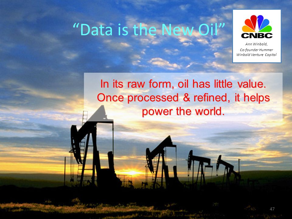 Data is the New Oil In its raw form, oil has little value.