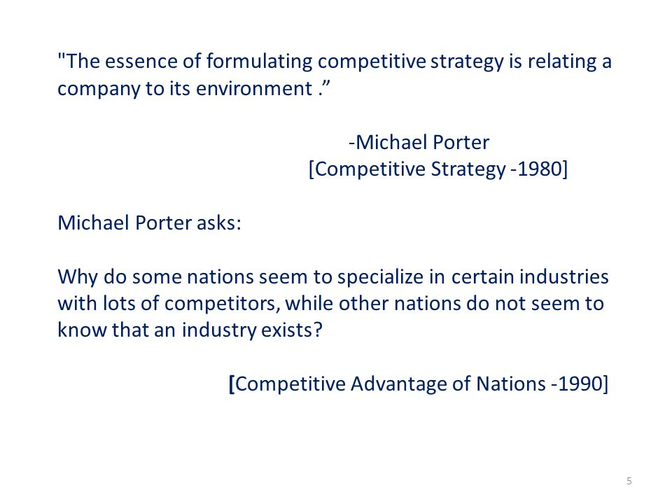The essence of formulating competitive strategy is relating a company to its environment .