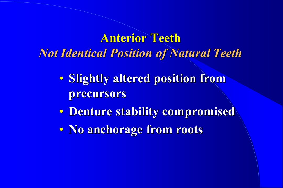 Anterior Teeth Not Identical Position of Natural Teeth