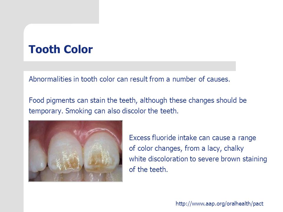 Tooth Color Abnormalities in tooth color can result from a number of causes. Food pigments can stain the teeth, although these changes should be.