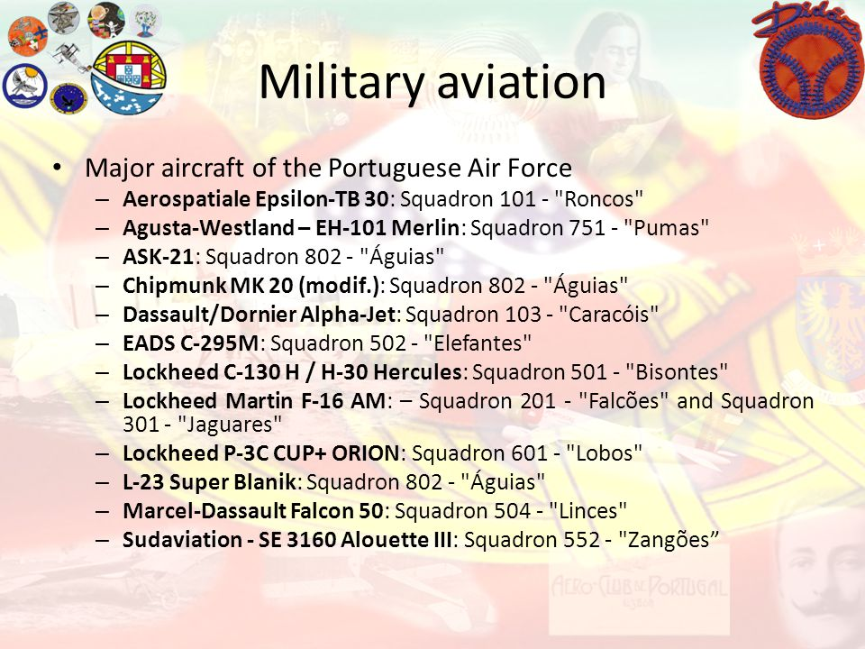 Military aviation Major aircraft of the Portuguese Air Force