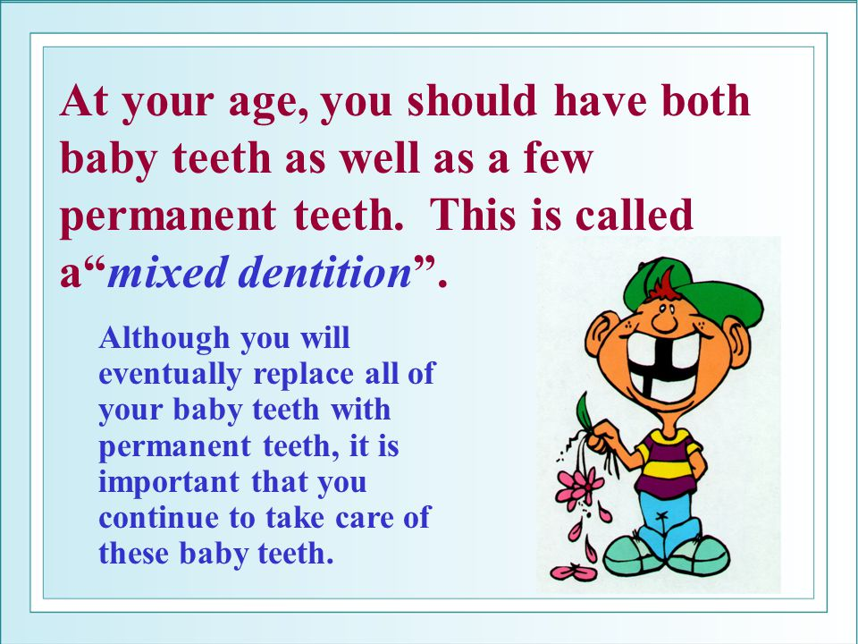 At your age, you should have both baby teeth as well as a few permanent teeth. This is called a mixed dentition .