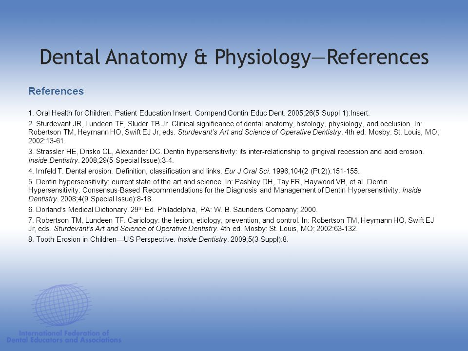 Dental Anatomy & Physiology—References