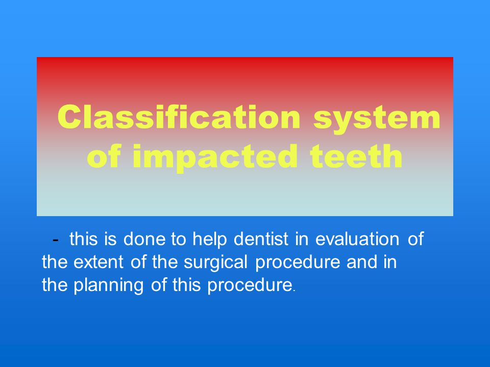 Classification system of impacted teeth