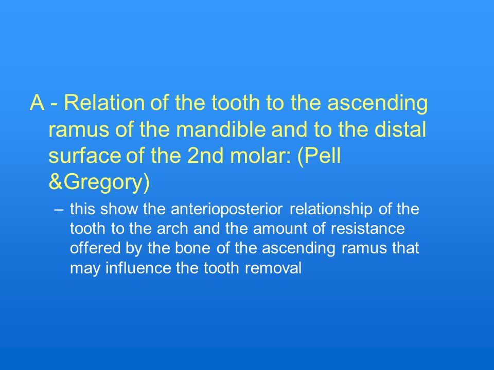A - Relation of the tooth to the ascending ramus of the mandible and to the distal surface of the 2nd molar: (Pell &Gregory)