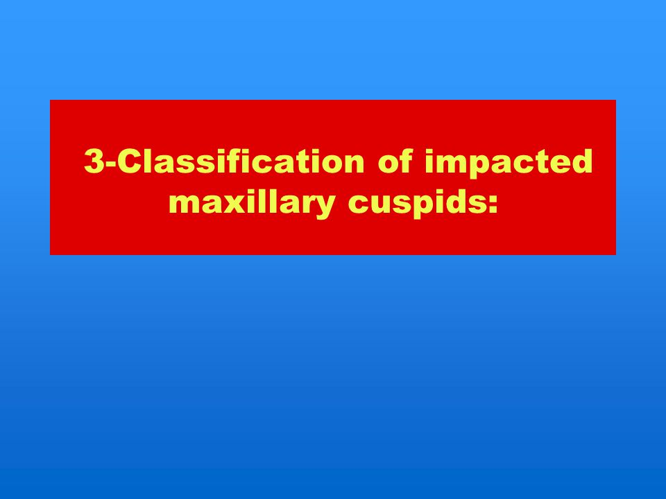 3-Classification of impacted maxillary cuspids: