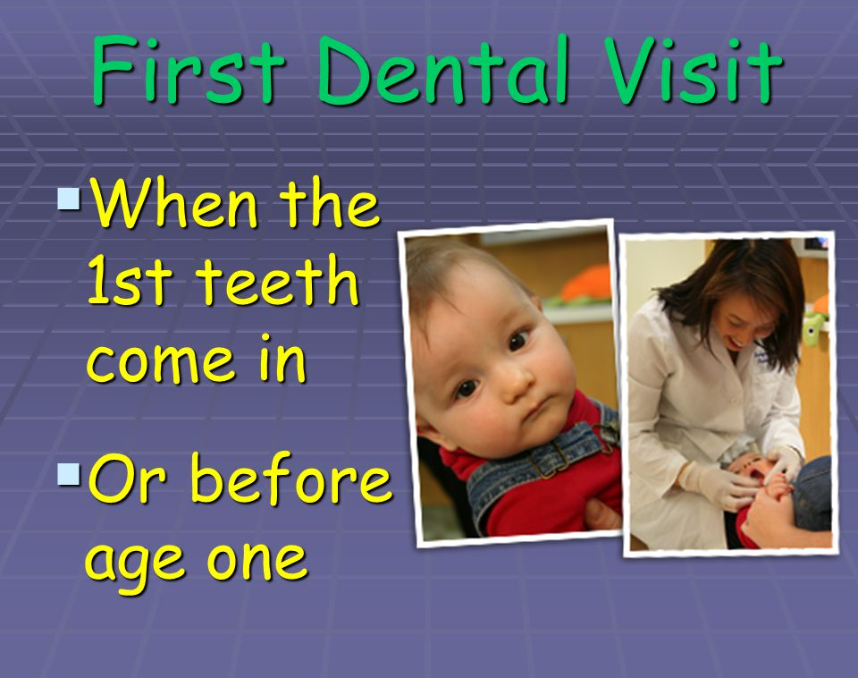 First Dental Visit When the 1st teeth come in Or before age one