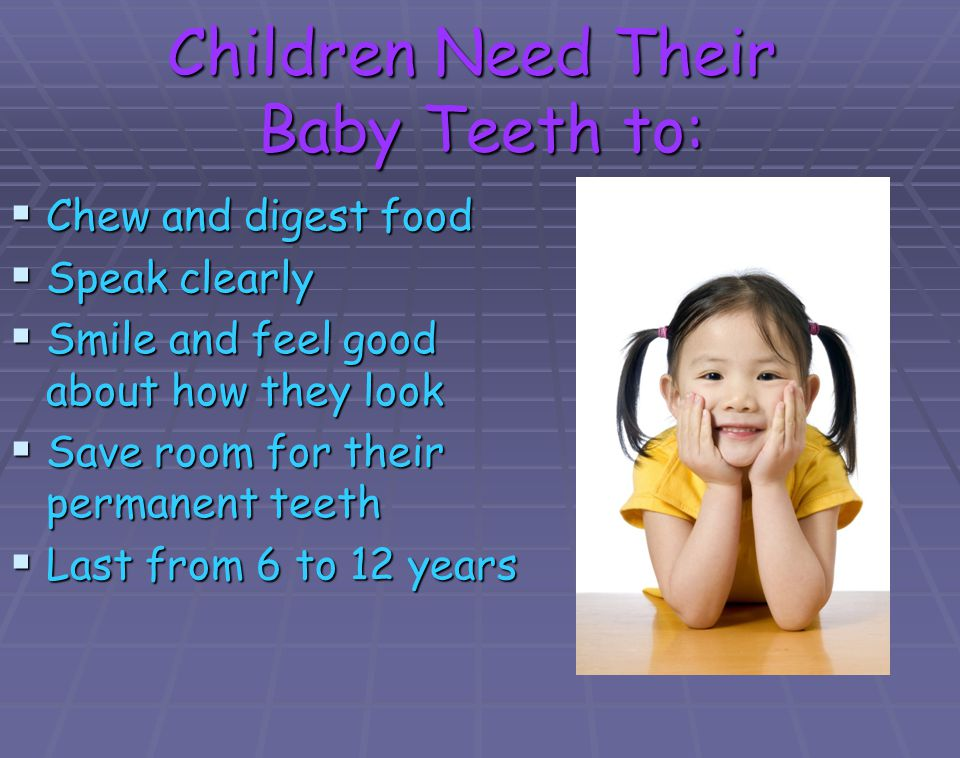 Children Need Their Baby Teeth to: