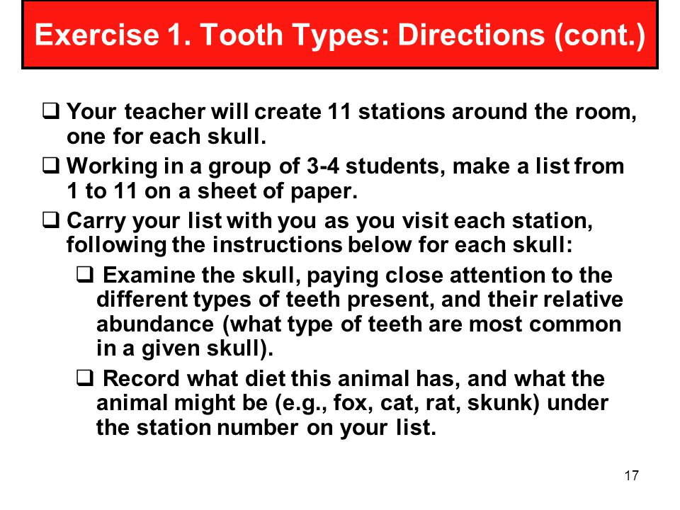 Exercise 1. Tooth Types: Directions (cont.)