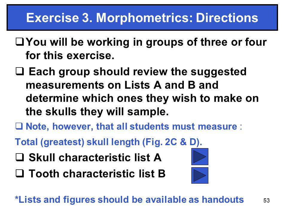 Exercise 3. Morphometrics: Directions