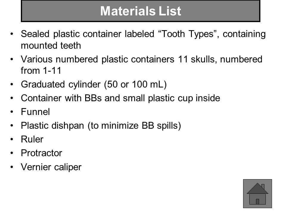 Materials List Sealed plastic container labeled Tooth Types , containing mounted teeth.