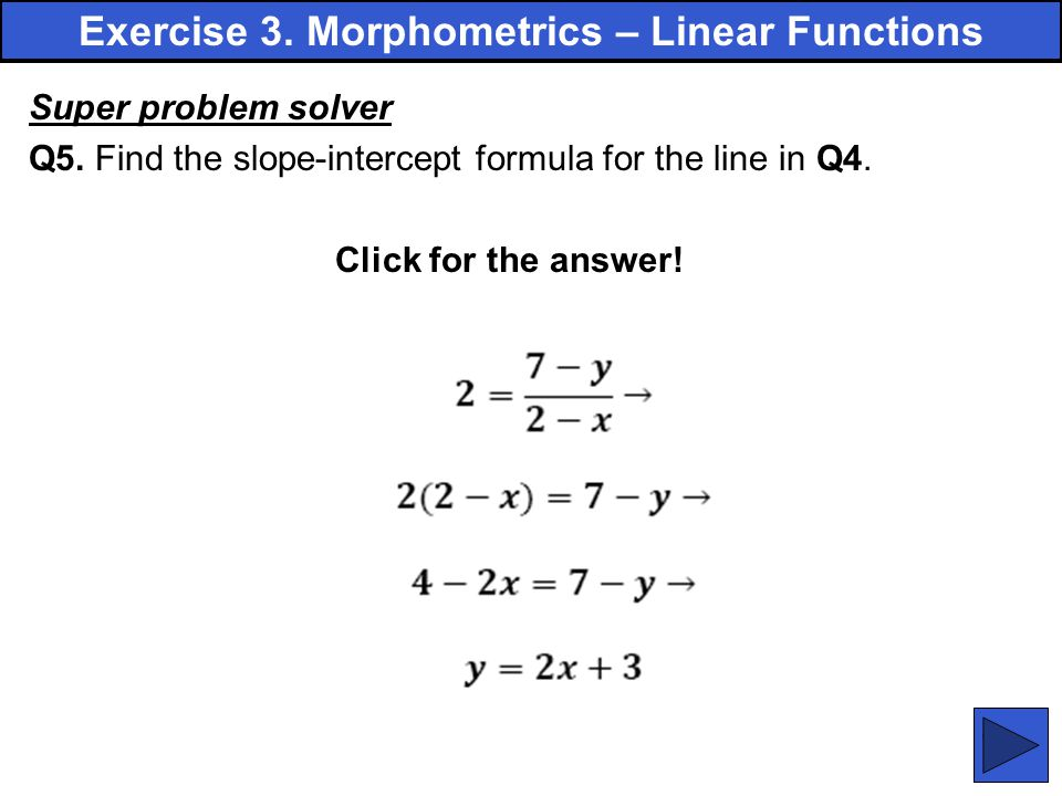 Exercise 3. Morphometrics – Linear Functions