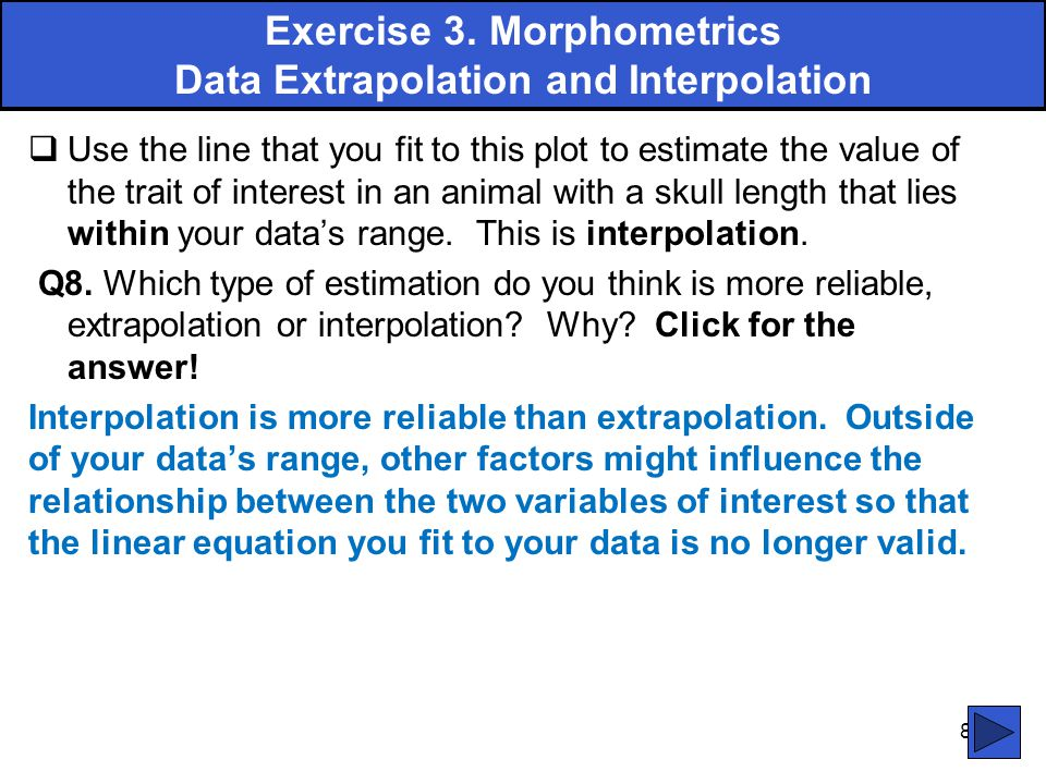 Exercise 3. Morphometrics Data Extrapolation and Interpolation