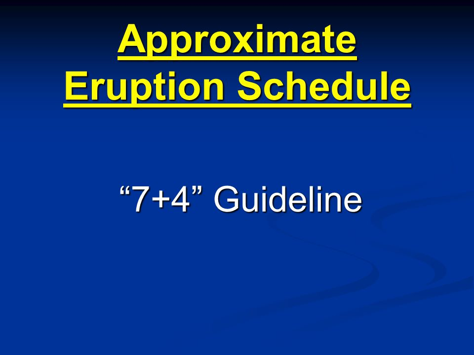 Approximate Eruption Schedule