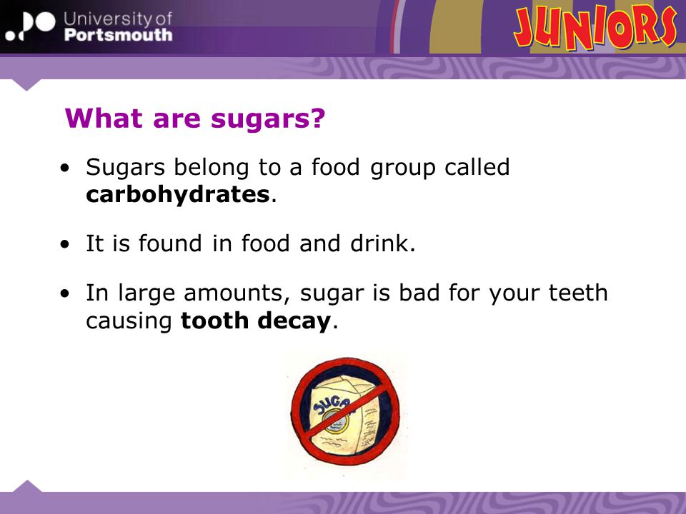 What are sugars Sugars belong to a food group called carbohydrates.