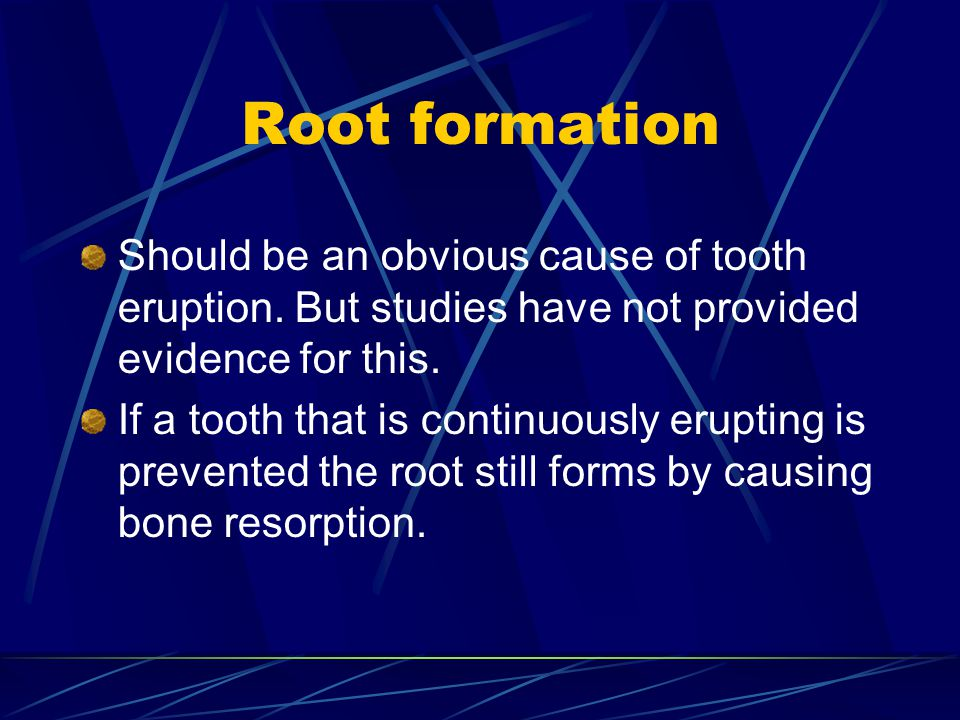 Root formation Should be an obvious cause of tooth eruption. But studies have not provided evidence for this.