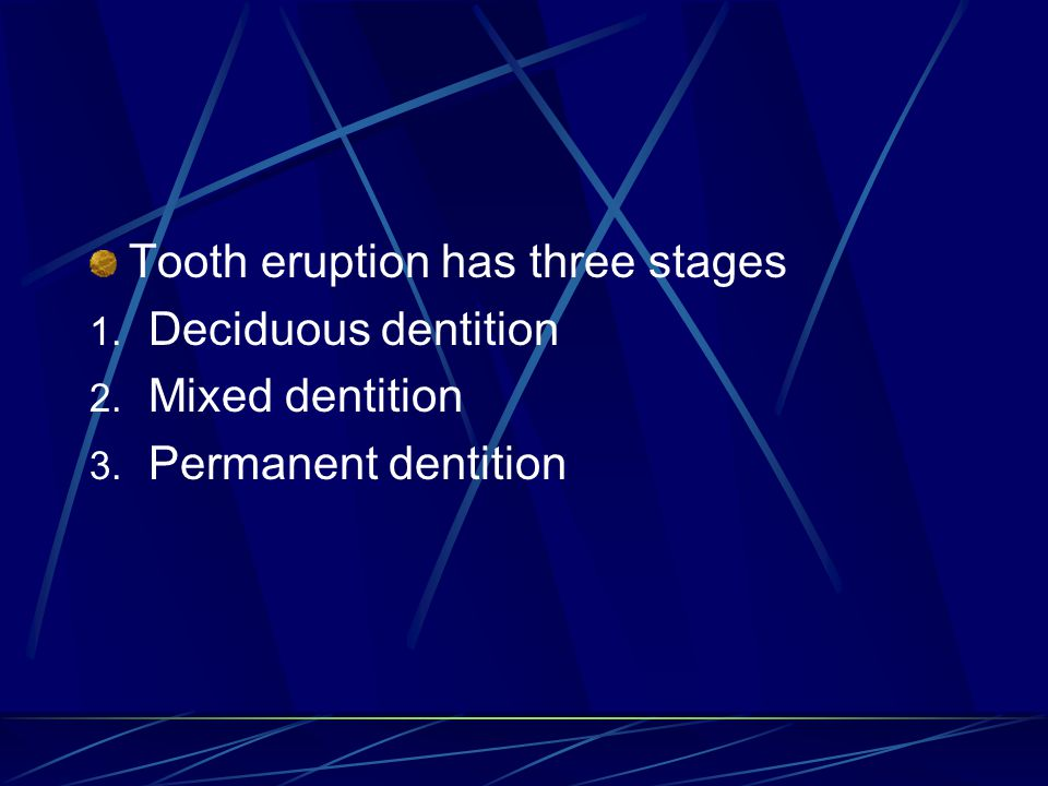 Tooth eruption has three stages