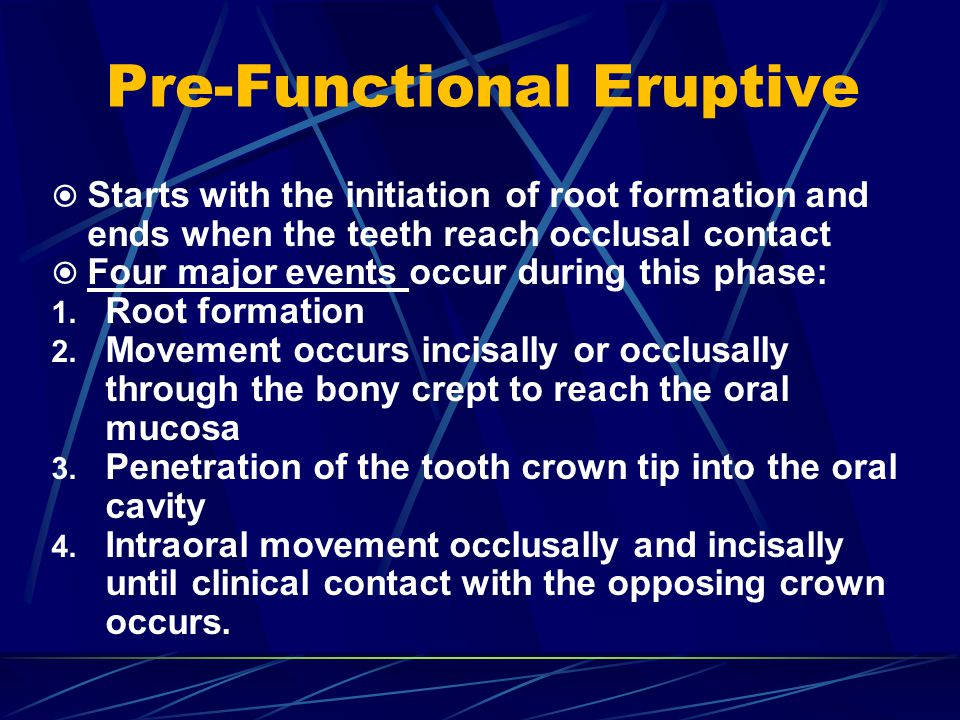 Pre-Functional Eruptive