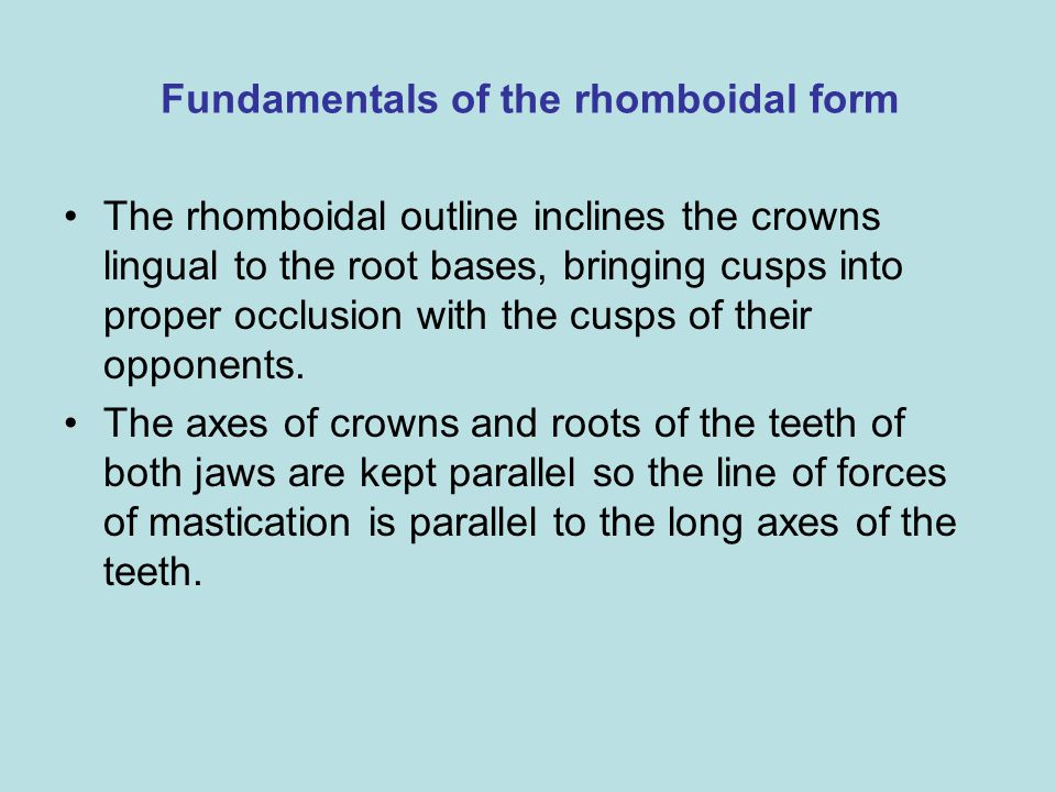 Fundamentals of the rhomboidal form