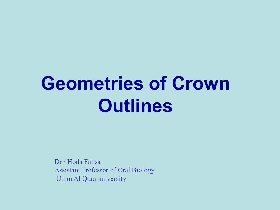 Geometries of Crown Outlines