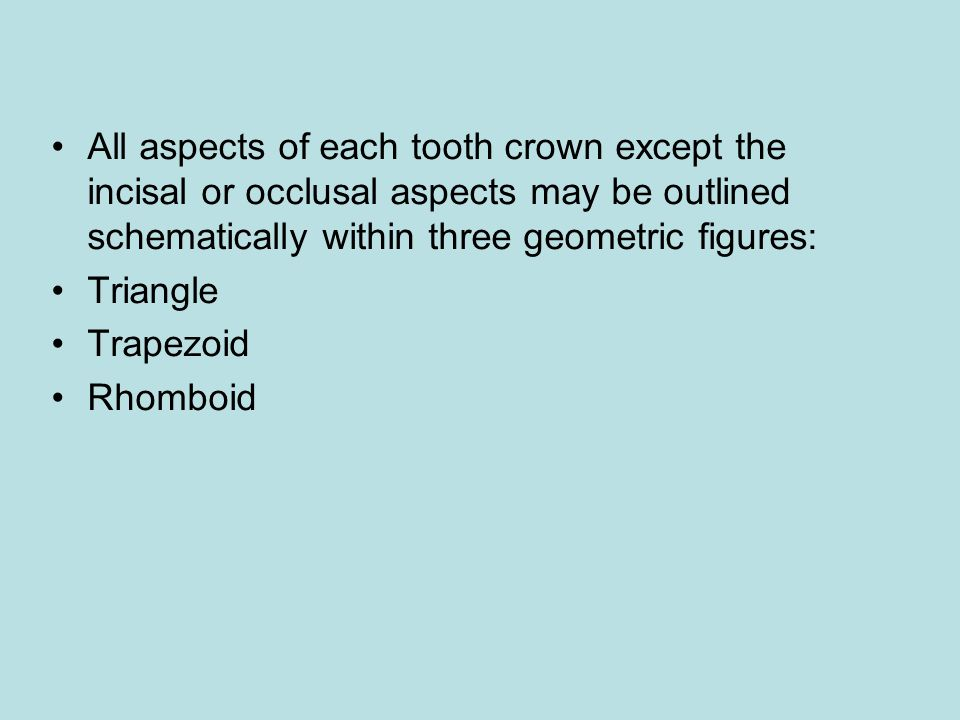 All aspects of each tooth crown except the incisal or occlusal aspects may be outlined schematically within three geometric figures: