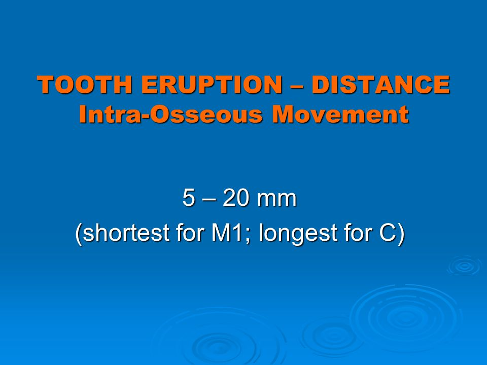 TOOTH ERUPTION – DISTANCE Intra-Osseous Movement