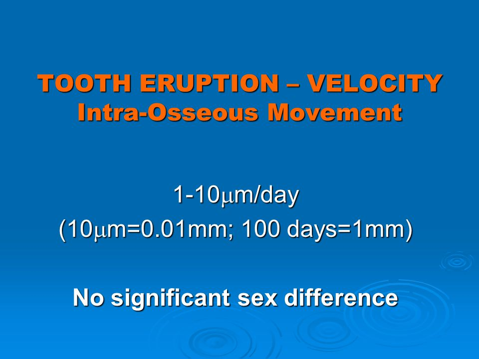 TOOTH ERUPTION – VELOCITY Intra-Osseous Movement