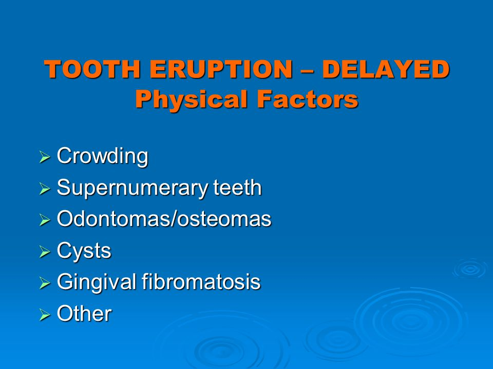 TOOTH ERUPTION – DELAYED Physical Factors