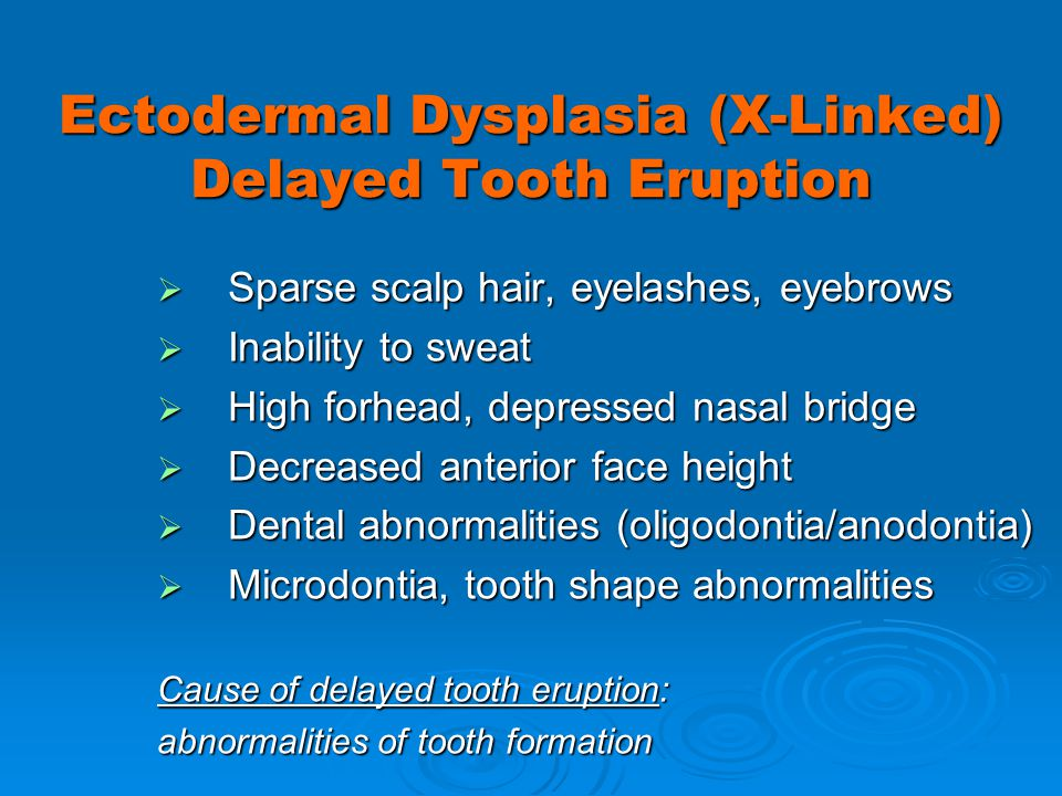 Ectodermal Dysplasia (X-Linked) Delayed Tooth Eruption