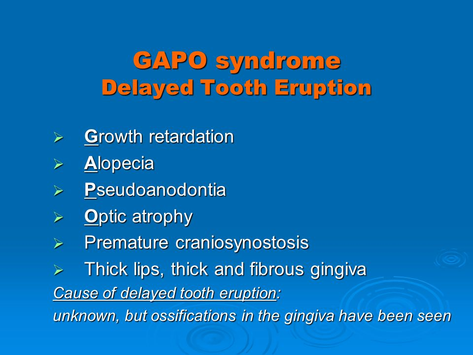 GAPO syndrome Delayed Tooth Eruption