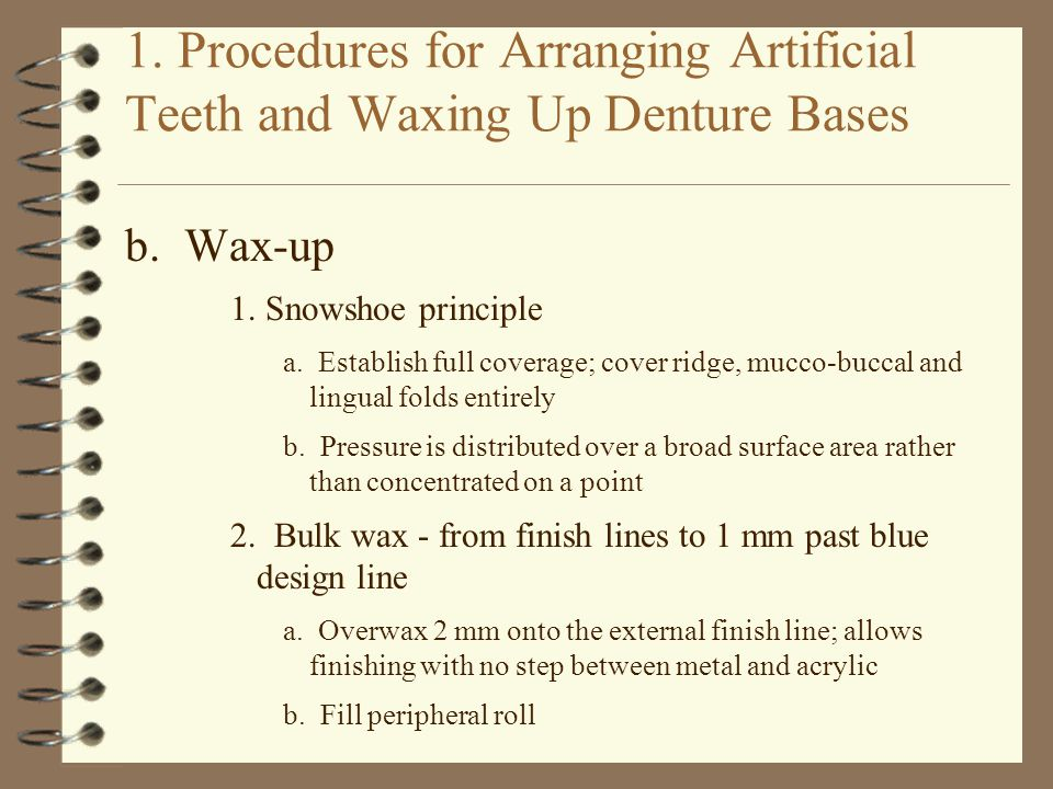 1. Procedures for Arranging Artificial Teeth and Waxing Up Denture Bases