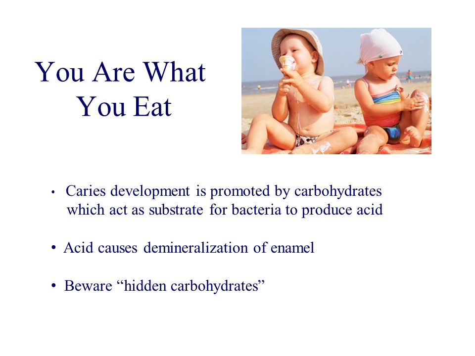 You Are What You Eat Caries development is promoted by carbohydrates. which act as substrate for bacteria to produce acid.