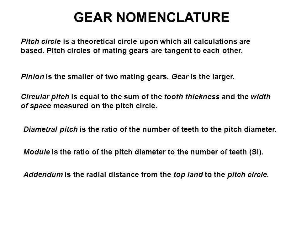 GEAR NOMENCLATURE