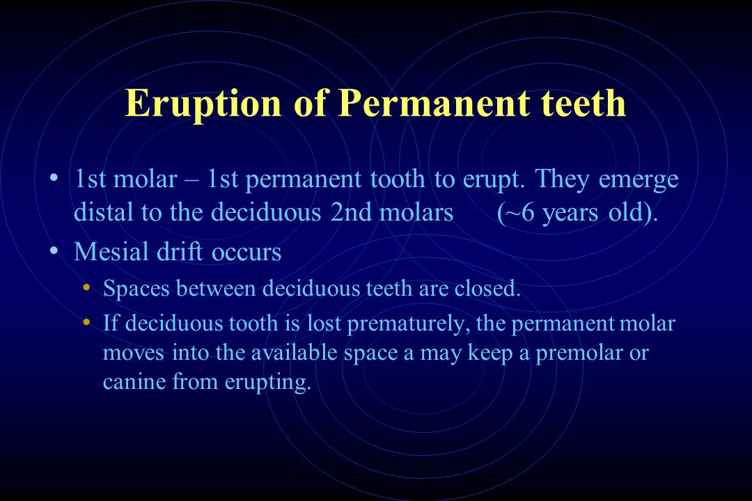 Eruption of Permanent teeth