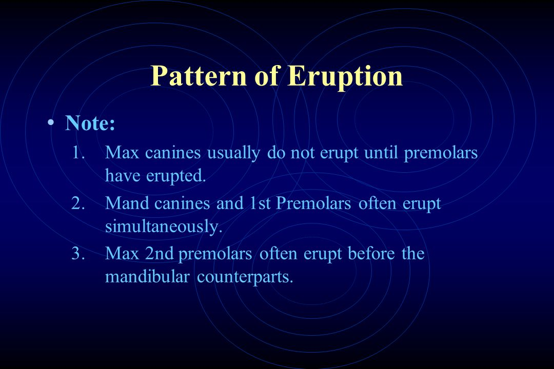 Pattern of Eruption Note: