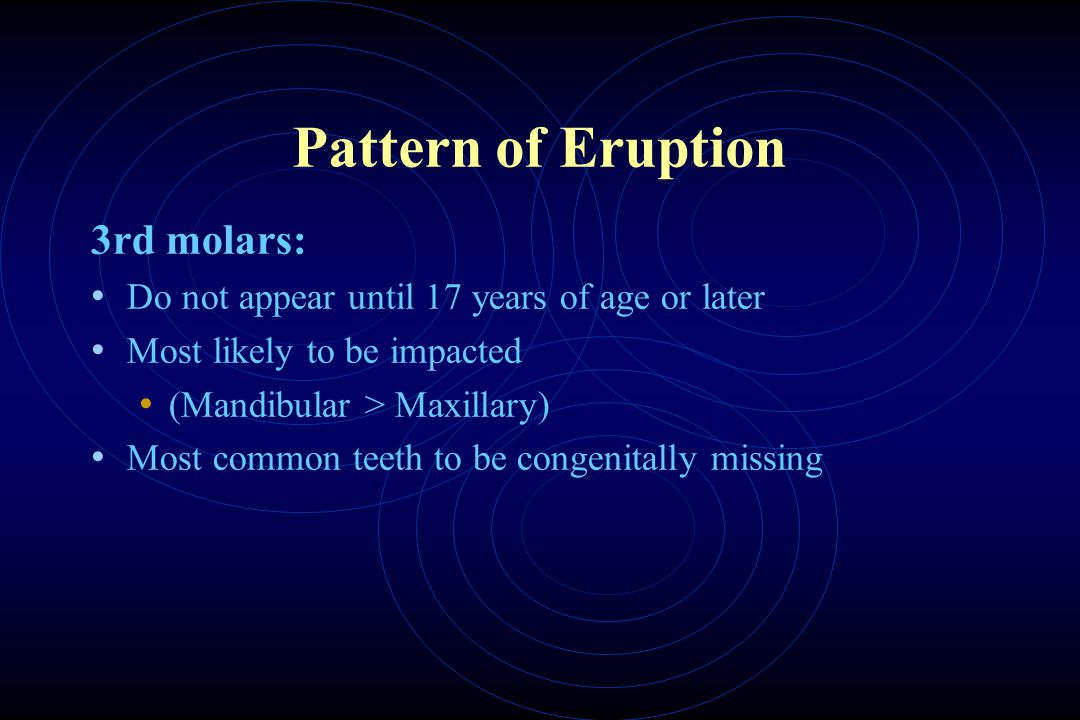 Pattern of Eruption 3rd molars:
