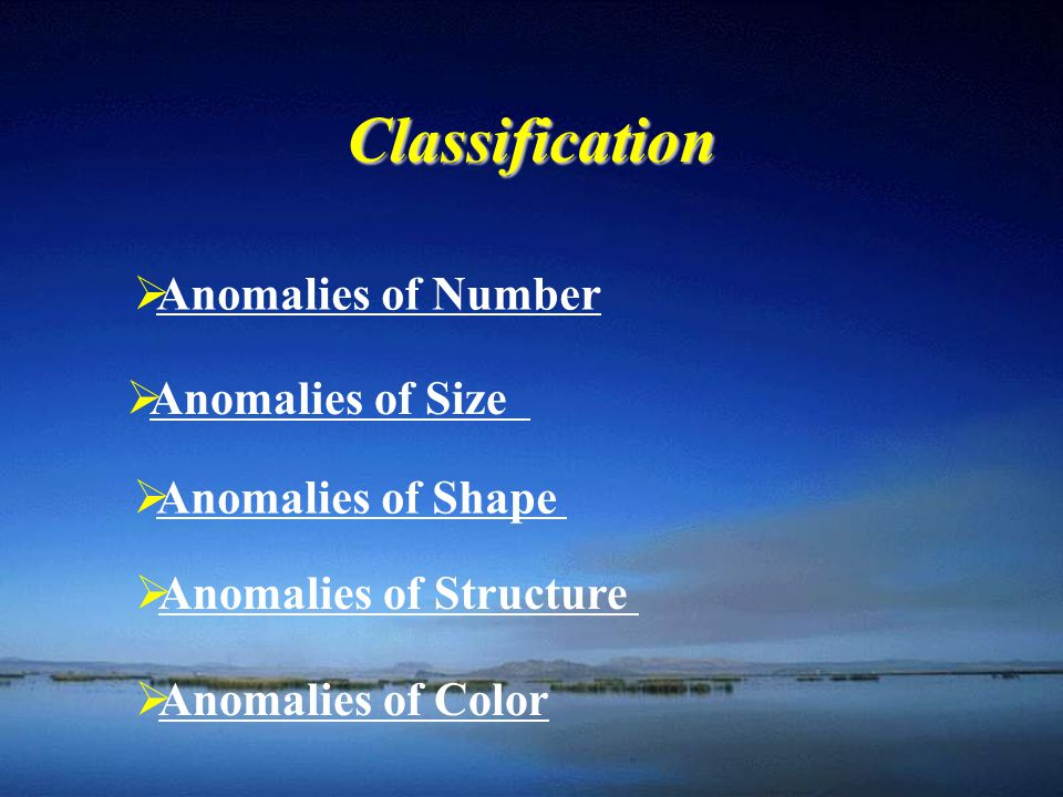 Classification Anomalies of Number Anomalies of Size